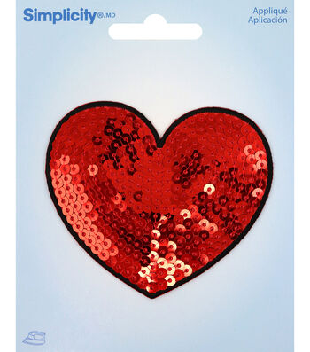 Simplicity Heart Iron-on Applique with Sequins-Red