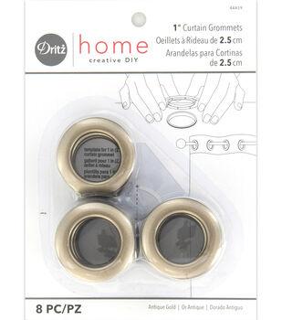 """Dritz Home 1"""" Round Grommet Medium 8pcs Antique Gold"""
