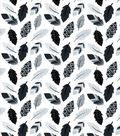 Nursery Cotton Fabric -Black & White Leaves