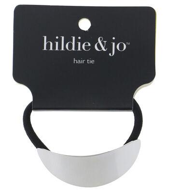 hildie & jo Black Ponytail Hair Tie with Silver Oval