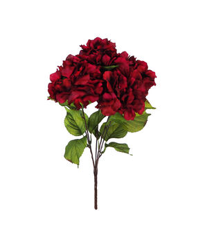 Faux flowers floral stems sprays joann blooming autumn hydrangea bush red mightylinksfo