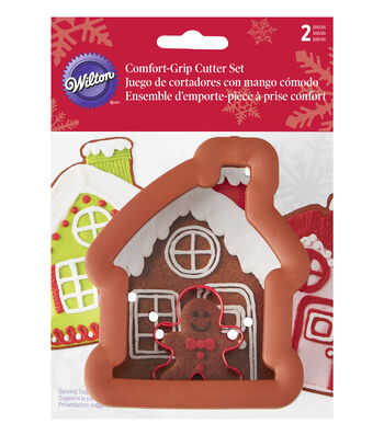 Wilton Gingerbread House and Gingerbread Boy Comfort-Grip Cookie Cutter Set, 2-Piece