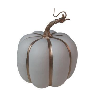Simply Autumn Small Pumpkin-Copper Stripes on White