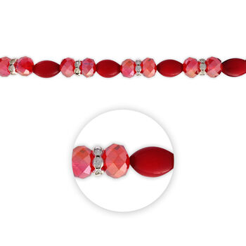 "Blue Moon Beads 7"" Crystal Strand, Cat's Eye with Metal Spacers, Red"