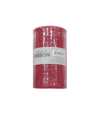 "Decorative Ribbon 5.5""x10yd Metallic Deco Mesh-Red"