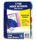 C-Line Mini Size 5-Tab Poly Index Dividers, Slant Pockets, 12 Sets