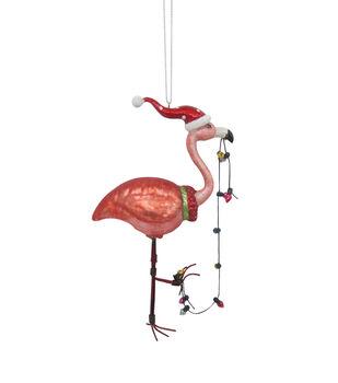 Handmade Holiday Christmas Glass Flamingo Ornament with Lights