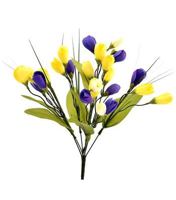 Fresh Picked Spring 18'' Crocus Bush-Yellow & Purple