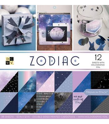 DCWV 36 Pack 12''x12'' Premium Stack Printed Cardstock-Zodiac
