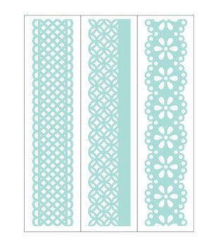 Park Lane 3 pk 1.4''x5.75'' Border Embossing Folders-Lace