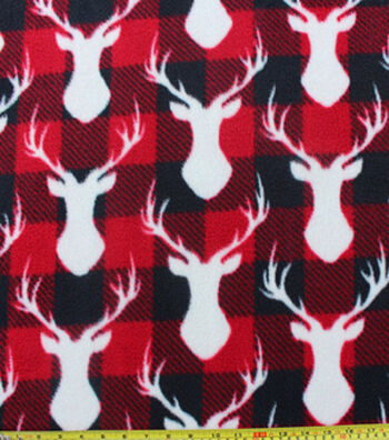 "Anti-Pill Fleece Fabric 59""-Stag Head Red Black Check"
