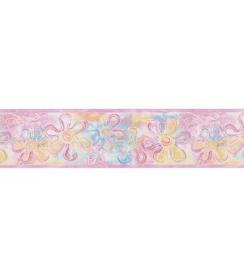 Flower Stamps Wallpaper Border, Pink