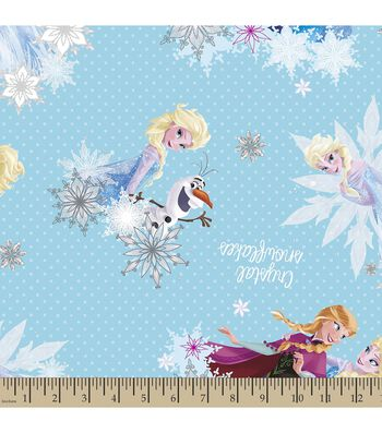 Disney Frozen Print Fabric-Crystal Snowflakes