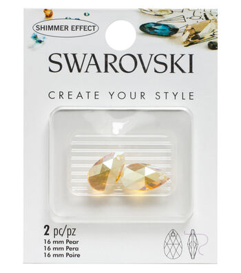 Swarovski 16mm Shimmer Pear Pendant 2/Pkg-Light Topaz