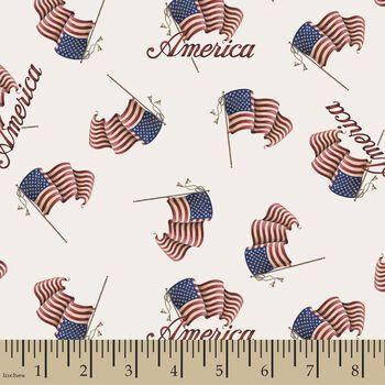 Patriotic American Flag Print Fabric