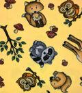 Anti-Pill Fleece Fabric 59\u0027\u0027-Woodland Animals on Yellow