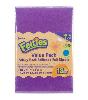 Darice 18ct 6''x9'' Felties Value Pack-Brights