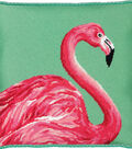 Pink Flamingo Needlepoing Kit 14\u0022X14\u0022 Stitched In Yarn