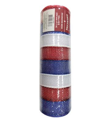 "Americana Decorative Mesh Ribbon 10""x30'-Red, White & Blue Thick Stripes"