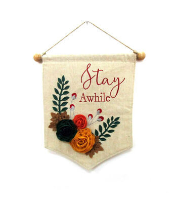 Simply Autumn Linen Banner-Stay Awhile