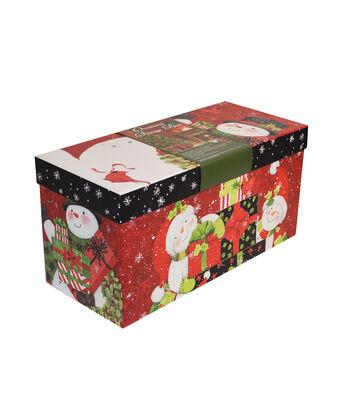 Christmas Medium Ornament Storage Box-Snowmen & Hats