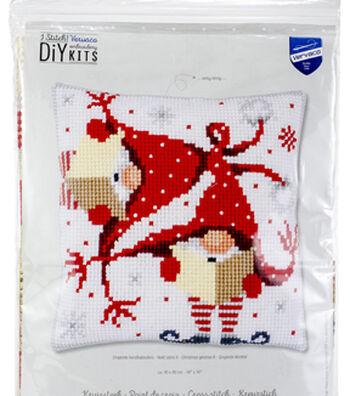 "Vervaco Needlepoint Cushion Top Kit 16""X16""-Christmas Gnomes"
