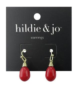 hildie & jo Gold Earrings-Red Bead