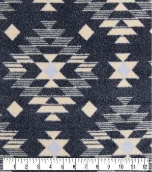 Luxe Fleece Fabric-Cream Black Aztec