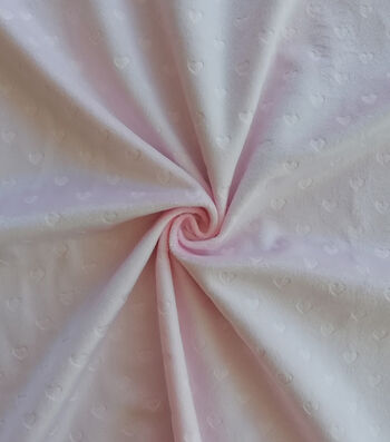 "Soft & Comfy Fleece Fabric 59""-Embossed Light Pink Heart"