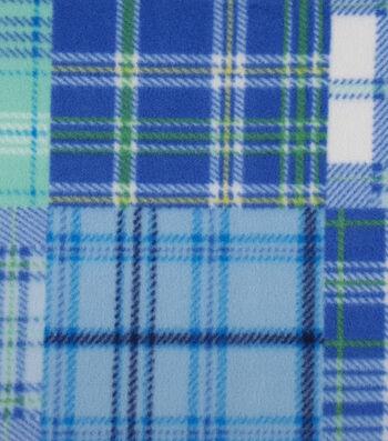 "3 Yard Pre-Cut Anti-Pill Fleece Fabric 59""-Blue Blocked Madras Plaid"