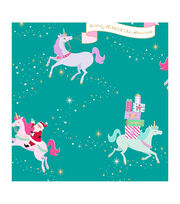 "American Crafts Bleach Gift Wrap 30""X10ft-Santa Unicorn-Gold Foil, , hi-res"