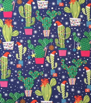 "Doodles Christmas Cotton Fabric 57""-Dark Blue Holiday Cacti"