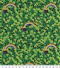 St. Patrick\u0027s Day Fabric -Shamrocks & Rainbows