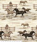 Anti-Pill Fleece Fabric 58\u0022-Horses And Fences