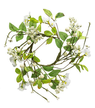 Fresh Picked Spring Blossom & Berry Mini Wreath-White