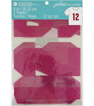 Jolee's Boutique 12 pk 8'' Glitter Numbers Iron-on Transfers-Pink
