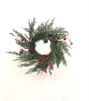 Handmade Holiday Christmas 10'' Cypress, Pinecone & Red Berry DIY Wreath