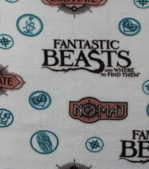 Fantastic Beasts Fleece Fabric -Sayings & Symbols