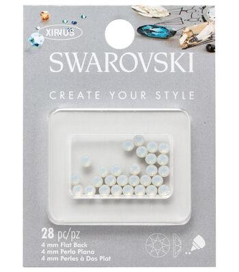 Swarovski Create Your Style 28 pk 4 mm Flat Back Opal Rhinestones-White