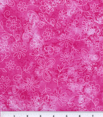 Keepsake Calico Fabric -Pink Sundrenched Butterfly & Flowers