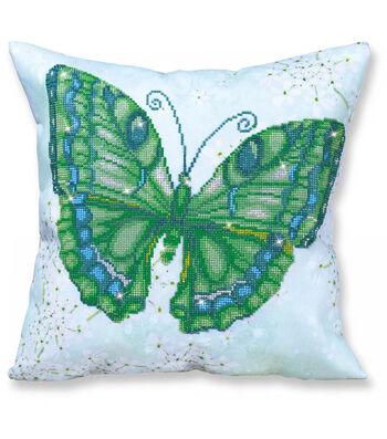 Diamond Dotz Decorative Pillow Kit-Papillon Vert