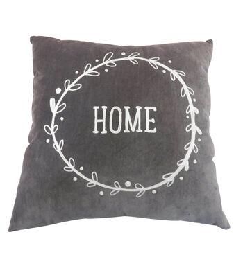 Simply Autumn 18''x18'' Velvet Pillow-Home on Gray