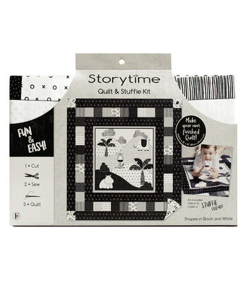 Storytime Quilt & Stuffie Kit-Shapes in Black & White