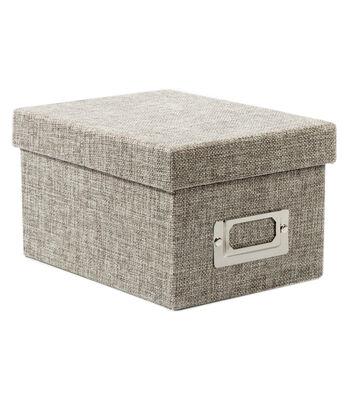 Mini Photo Storage Box-Gray Burlap