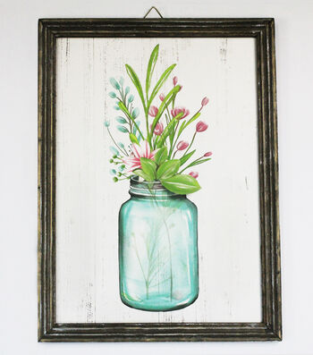 Hello Spring Wall Decor-Jar of Flowers