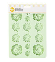 Wilton 6.34''x8.57'' 14-cavity Silicone Candy Mold-Mint Succulents, , hi-res