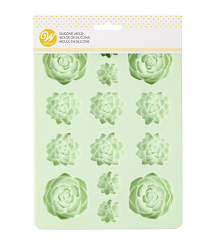 Wilton 6.34''x8.57'' 14-cavity Silicone Candy Mold-Mint Succulents