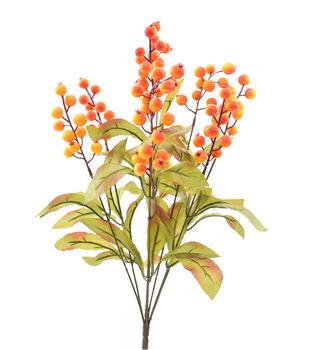Blooming Autumn Berry & Leaves Bush-Orange