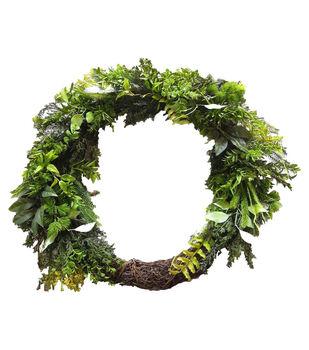 Handmade Holiday Christmas 32'' Half Mixed Greenery Wreath