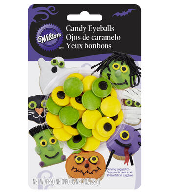 Wilton 1 oz Large Candy Eyeballs-Green & Yellow